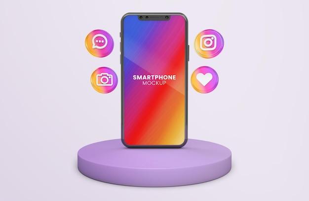 黒の携帯電話のモックアップに3dアイコンがレンダリングされたinstagram