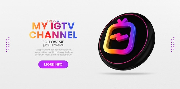 Instagram with 3d ig tv icon for social media banner