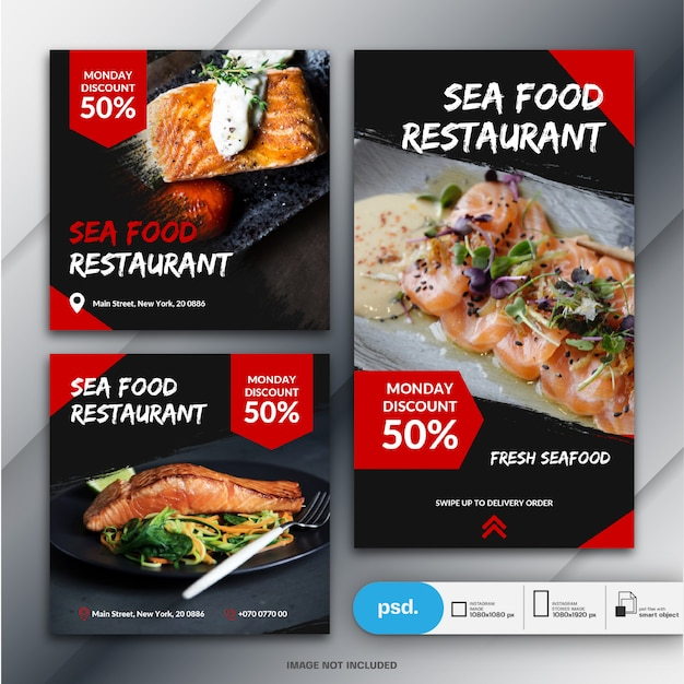 Instagramストーリーとフィードポストバンドル食品ビジネスマーケティング