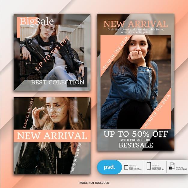 ファッションinstagram投稿とストーリーテンプレートまたは正方形バナー