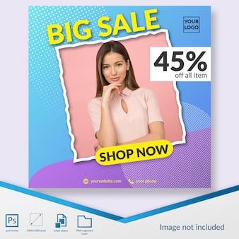 Флэш-распродажа модных скидок предлагает пост-шаблон instagram или квадратный баннер