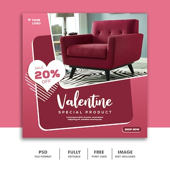 バレンタインバナーソーシャルメディア投稿instagram、家具ピンクスペシャル