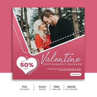 バレンタインバナーソーシャルメディア投稿instagram