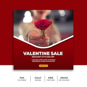 ソーシャルメディアポストバレンタインバナーinstagram、フラワーローズレッド