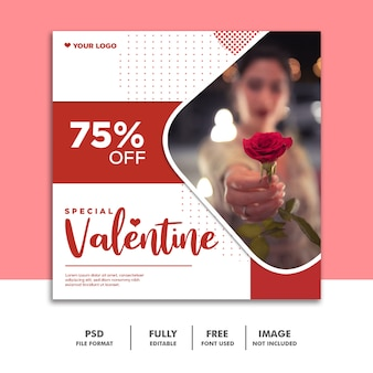 ソーシャルメディアポストバレンタインバナーinstagram、ローズレッド