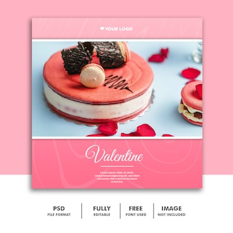 フードバレンタインバナーソーシャルメディアポストinstagramピンクケーキ
