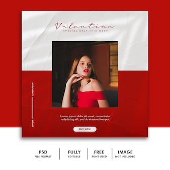 ファッションバレンタインバナーソーシャルメディアポストinstagram赤い女性美しい