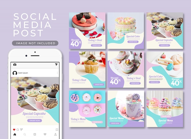Instagramの投稿または正方形のバナー。デザートとケーキのテンプレートコレクション