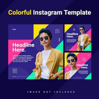 Треугольник instagram кормить пост шаблон женщина красочный яркий концепция