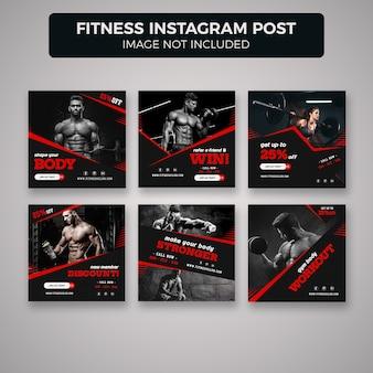 Фитнес и тренажерный зал instagram пост баннер с