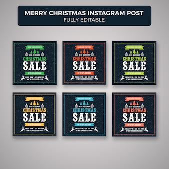 Счастливого рождества instagram пост баннер шаблон