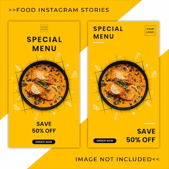 Продовольственное меню продвижение instagram истории баннер шаблон