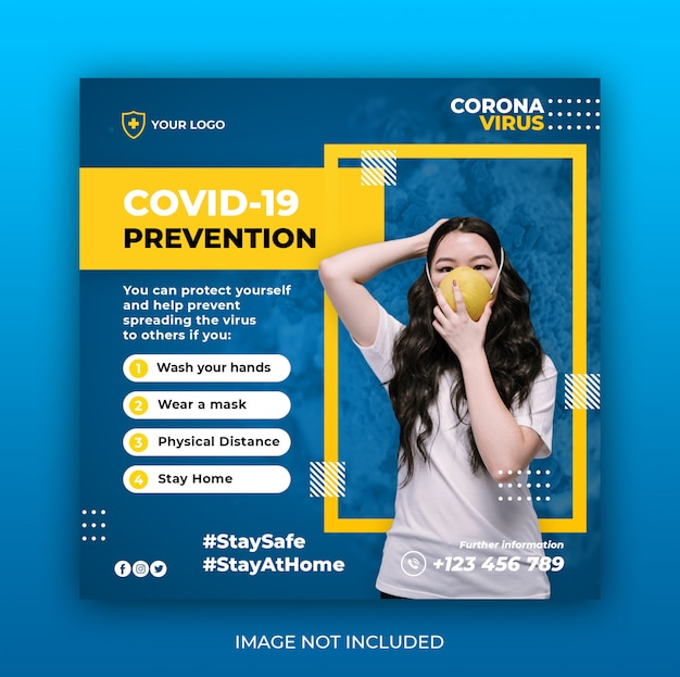 コロナウイルス警告ソーシャルメディアinstagramバナー投稿テンプレートまたはスクエアチラシ