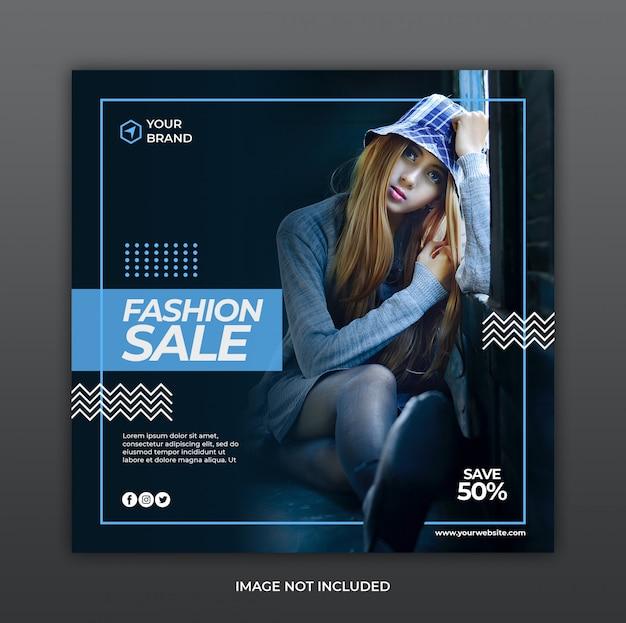 Минималистская мода продажи социальных медиа instagram баннер шаблон постера или квадратный флаер