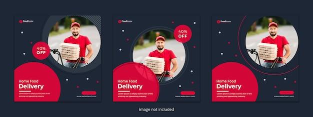 Коллекция дизайна доставки еды баннер или квадратный флаер для динамического современного веб-социальных сетей instagram пост-премиум шаблон