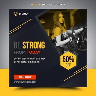 Фитнес-баннер шаблон instagram