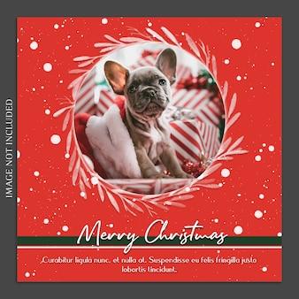 Рождественский и счастливый новогодний фотомакет и шаблон шаблона instagram