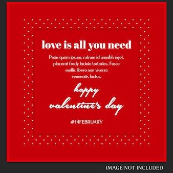 クリエイティブモダンロマンチックバレンタインデーinstagramのポストテンプレートと写真モックアップ
