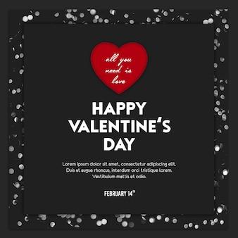 День святого валентина instagram пост шаблон и баннер шаблон