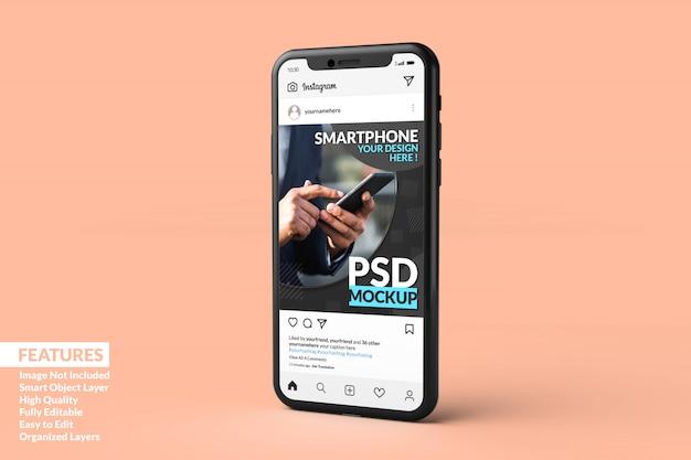 Шаблон поста в instagram на макете смартфона премиум