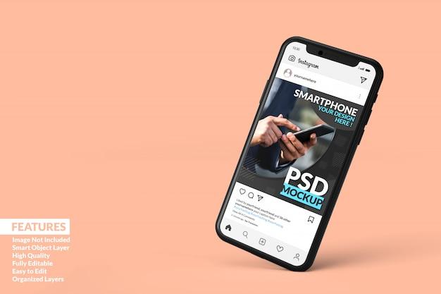 Шаблон поста в instagram на черном мобильном телефоне, макет с плавающей премиум