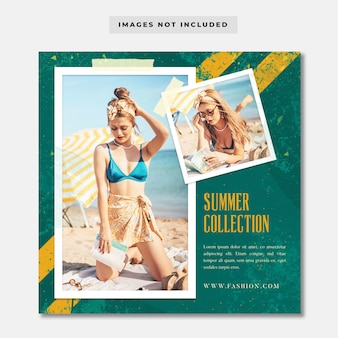 Фоторамка летняя коллекция социальных медиа шаблон instagram