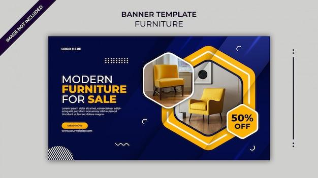 Современная мебель продажа веб-баннер или instagram баннер шаблон