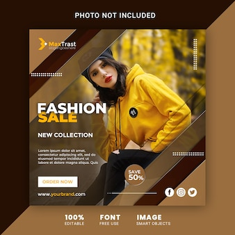 ファッションセールプロモーションinstagramポストスクエアバナーテンプレート