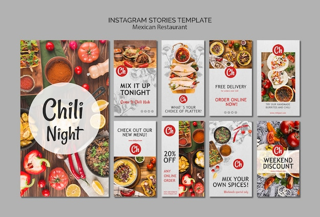 Шаблон instagram историй для мексиканского ресторана