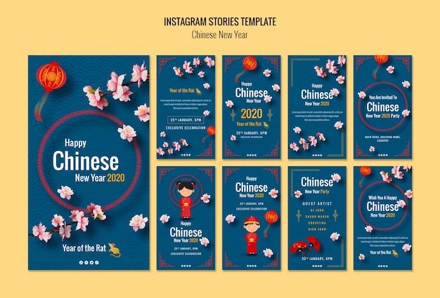 中国の新年のinstagramストーリー