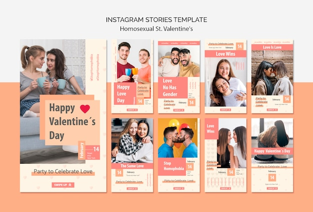 同性愛者のためのinstagramストーリーテンプレート。バレンタインの