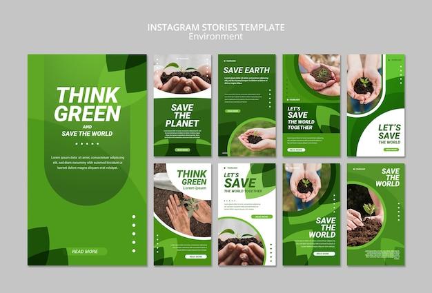 Подумайте зеленый шаблон истории instagram