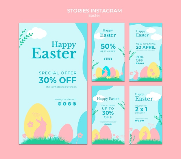 Instagram истории с пасхальной распродажей