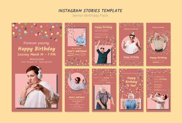 Шаблон рассказов старшего дня рождения instagram