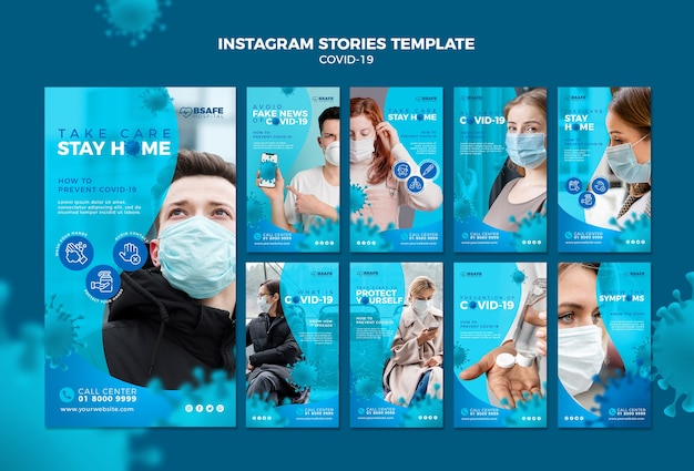 Шаблон историй коронавирусного instagram