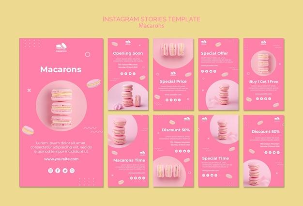Шаблон instagram истории с макарунами