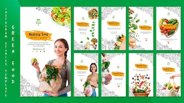 Шаблон истории instagram здоровой пищи с изображением