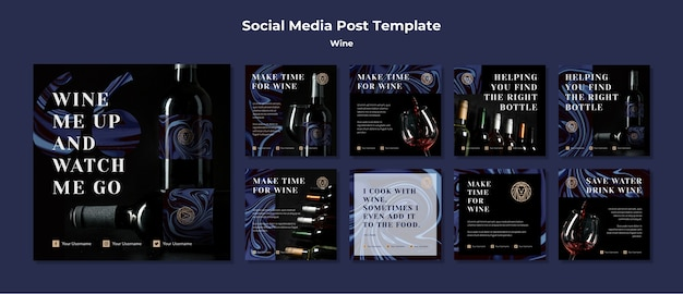 Коллекция постов в instagram для винного бизнеса