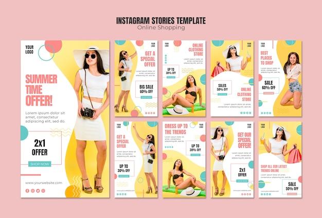 Шаблон истории из instagram с онлайн покупками
