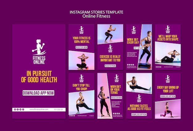 Шаблон фитнес-концепции instagram онлайн истории