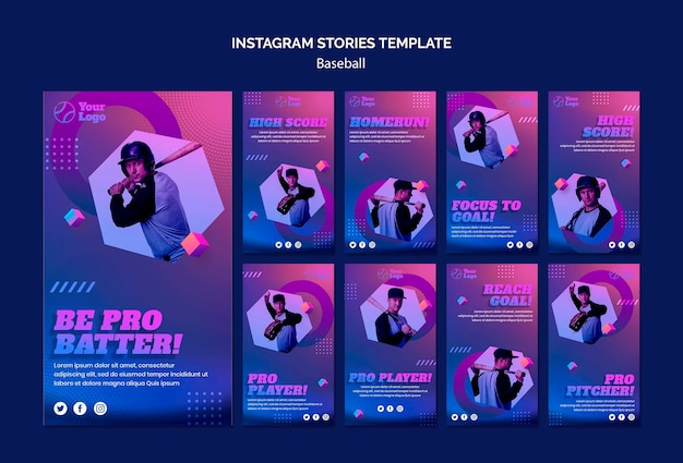Шаблон истории бейсбольных тренировок в instagram