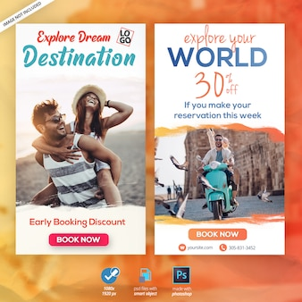 Путешествия каникулы туризм instagram истории веб-баннер