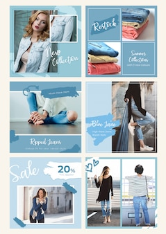 Шаблон баннера instagram - джинсовая ткань