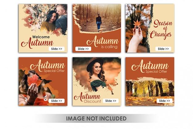 秋の販売をテーマにした正方形のバナーまたはinstagramの投稿
