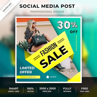 Модный пост или квадратный баннер для instagram или социальных сетей