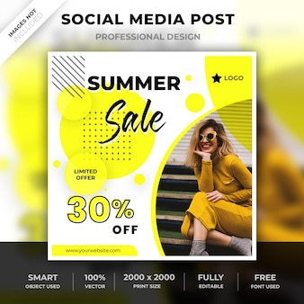 サマーセールバナーテンプレートまたはinstagramのための正方形のポストまたはソーシャルメディア