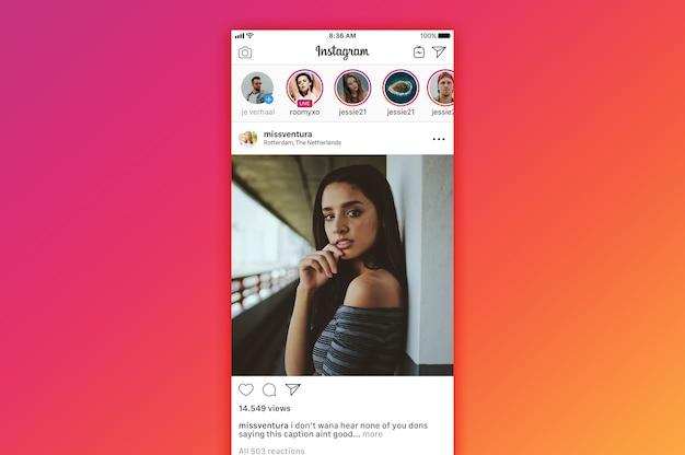 Instagramタイムラインのモックアップ