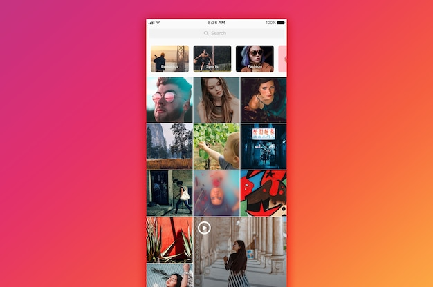 Instagram検索モックアップ