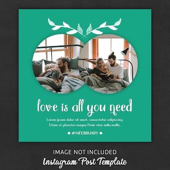 バレンタインデーのためのinstagramの投稿テンプレート