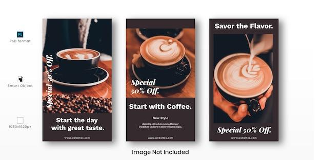 Набор шаблонов историй кофе instagram